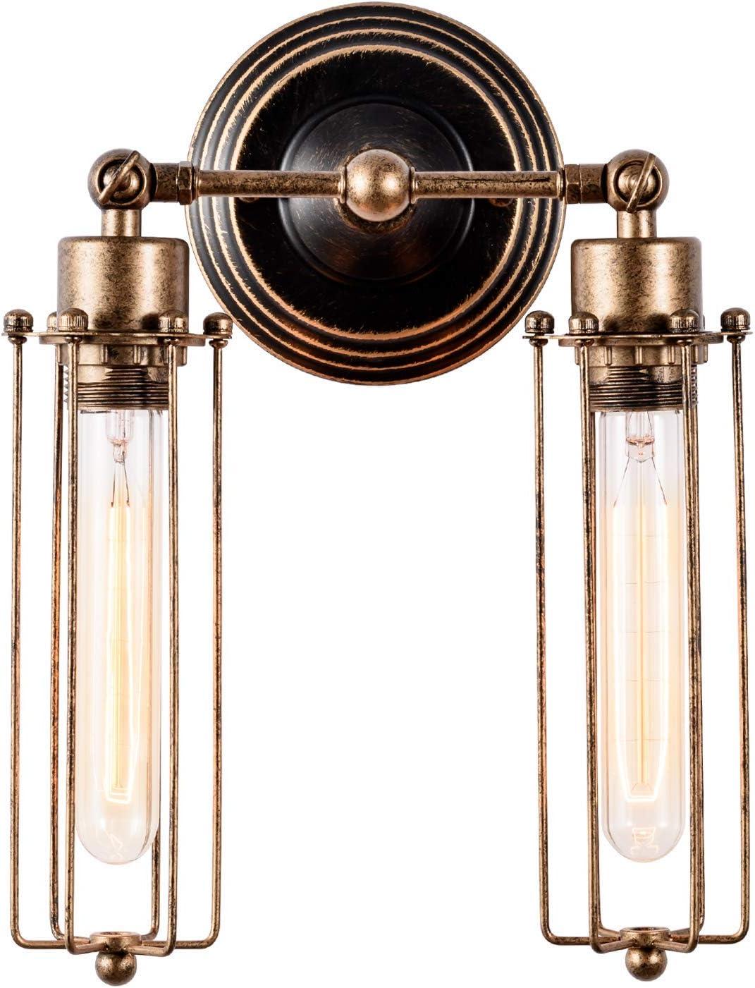 Apliques de Pared Vintage Ajustable Metal Lampara Rustica Retro Lámpara Industrial de Pared E27 para la Salon, Cocina, Desván, Restaurante,Decoración (Tube, Bronce, Bombillas No Incluidas)(2 luces)