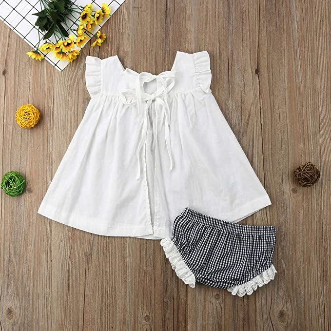 46b321baecf68 Amazon.com: Newborn Baby Girls 2019 Summer Clothes Outfits Cuekondy Cute  Princess Dress+Plaid Shorts Pants Set 0-24 Months: Clothing