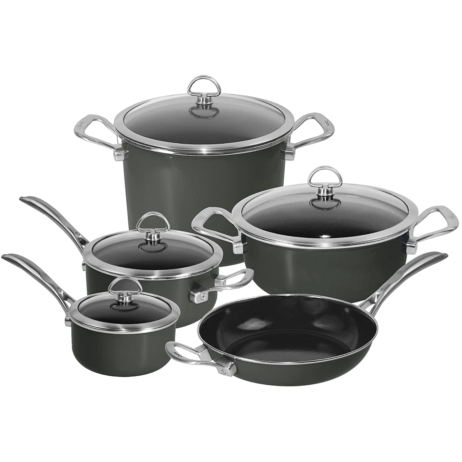 Amazon.com: Chantal 9-Piece Copper Fusion Cookware Set-Chili Red ...