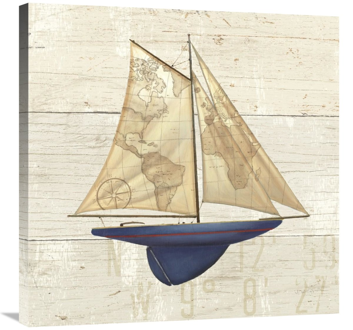 Global Gallery James Wiens Nautique I Giclee Stretched Canvas Artwork 30 x 30