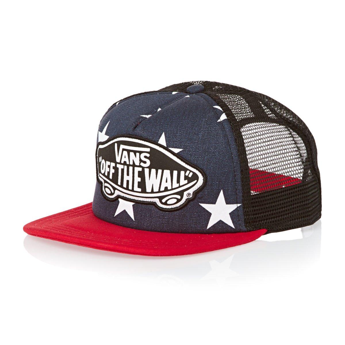 c50ced81ea Amazon.com  Vans Off The Wall Women s Beach Girl Trucker USA Stars Hat Cap  - Peacoat  Clothing