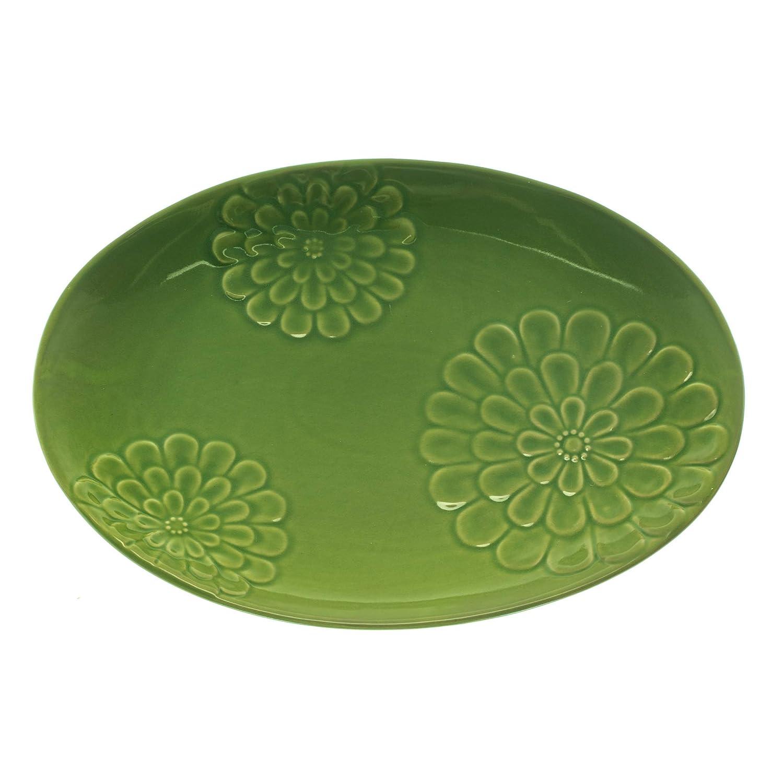 Floral Design Glossy Green 16 x 12 Ceramic Serving Platter Plate