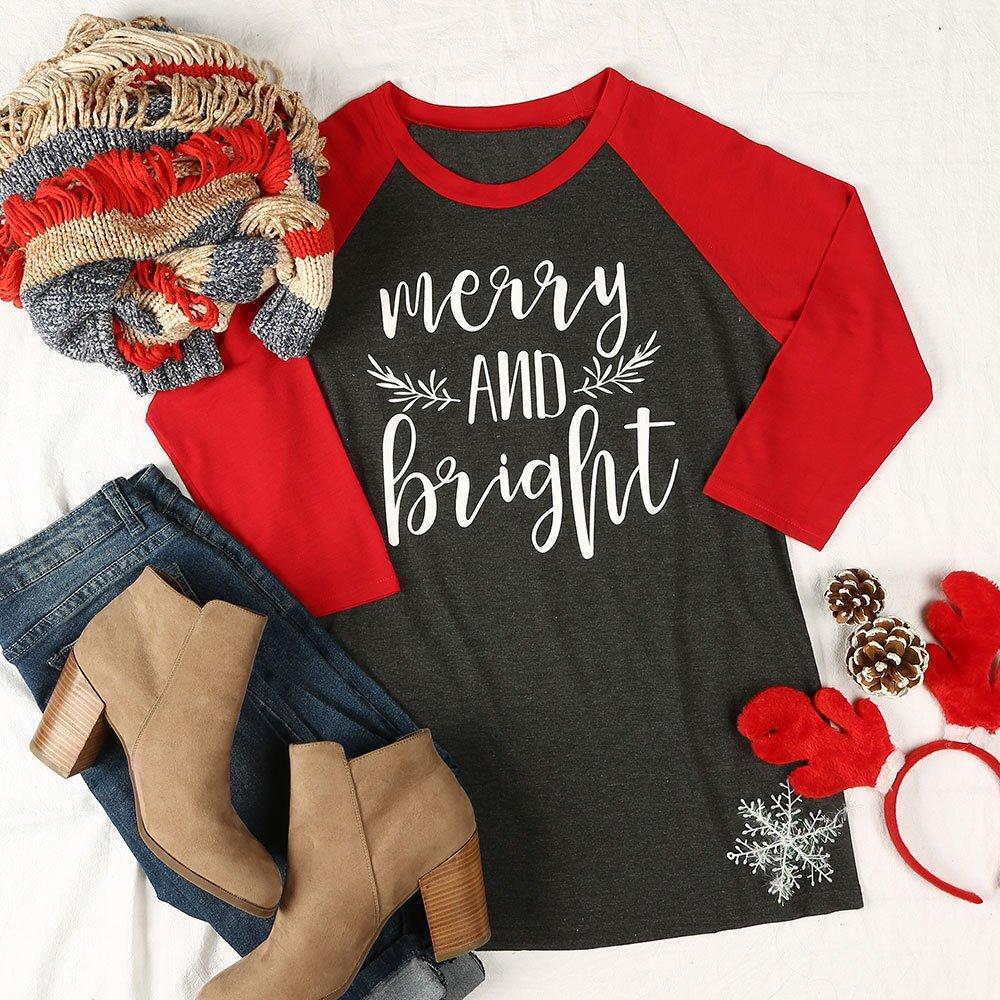 wlgreatsp Women Christmas Merry And Bright 3/4 Sleeve T-Shirt Liner Shirts Vin beauty
