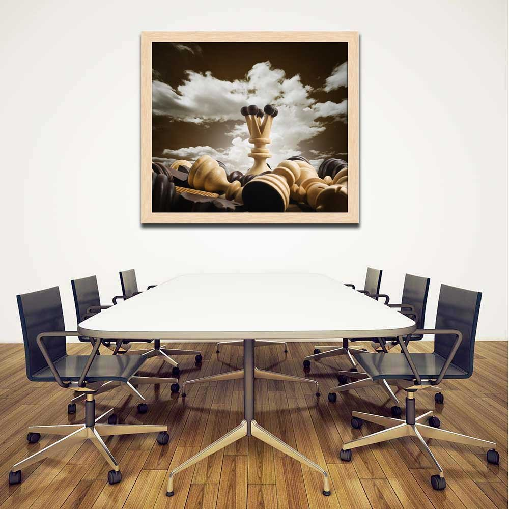 ArtzFolio Chess Dark Board Canvas Painting Dark Chess Braun Wood Frame 13.6 x 12inch 8e95d5