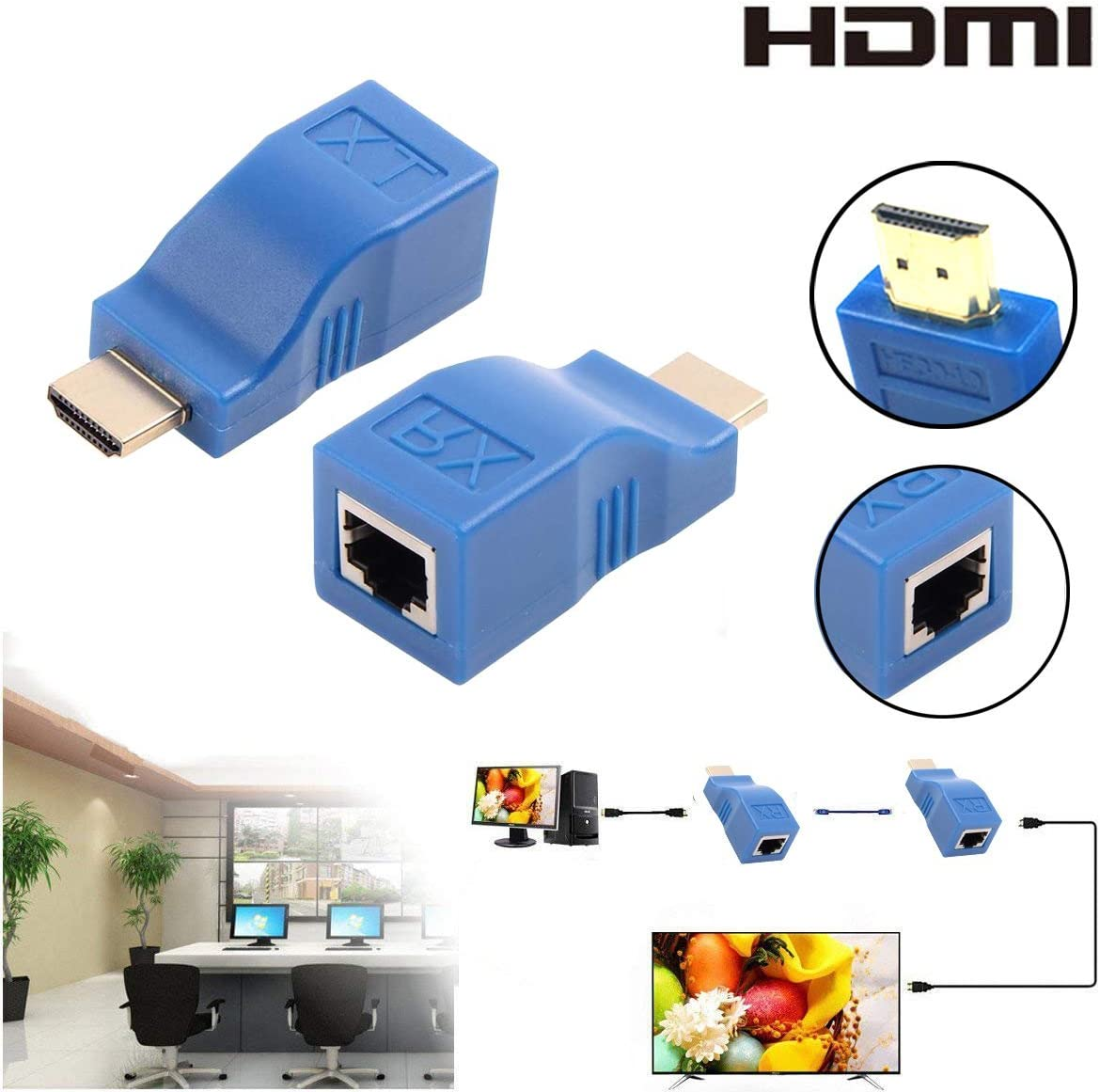 Splitter Repeater by Cat 5e Cat 6 1080P for HDTV HDPC PS4 STB 4K 2K Blue HDMI Extender,GEATSTAR 30M HDMI to RJ45 Network Cable Extender Converter Adapter