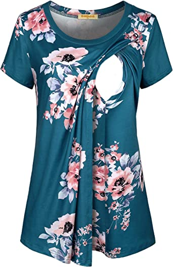 Baikea Womens Loose Comfy Layered Nursing Top and Shirts for Breastfeeding