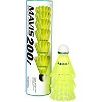 Yonex Mavis 200i/300i Nylon Shuttle Cock, Pack of 6 (Yellow)