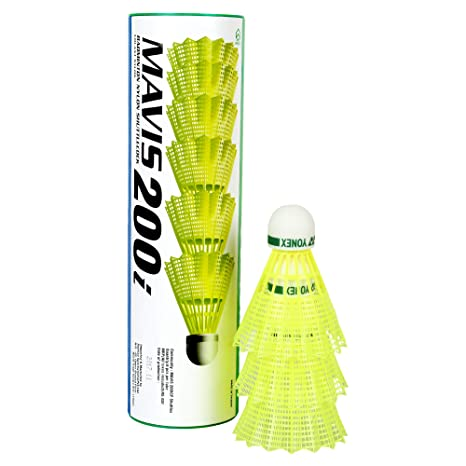 Yonex Mavis 200i Nylon Shuttle Cock, Pack of 6  Yellow  Shuttlecocks