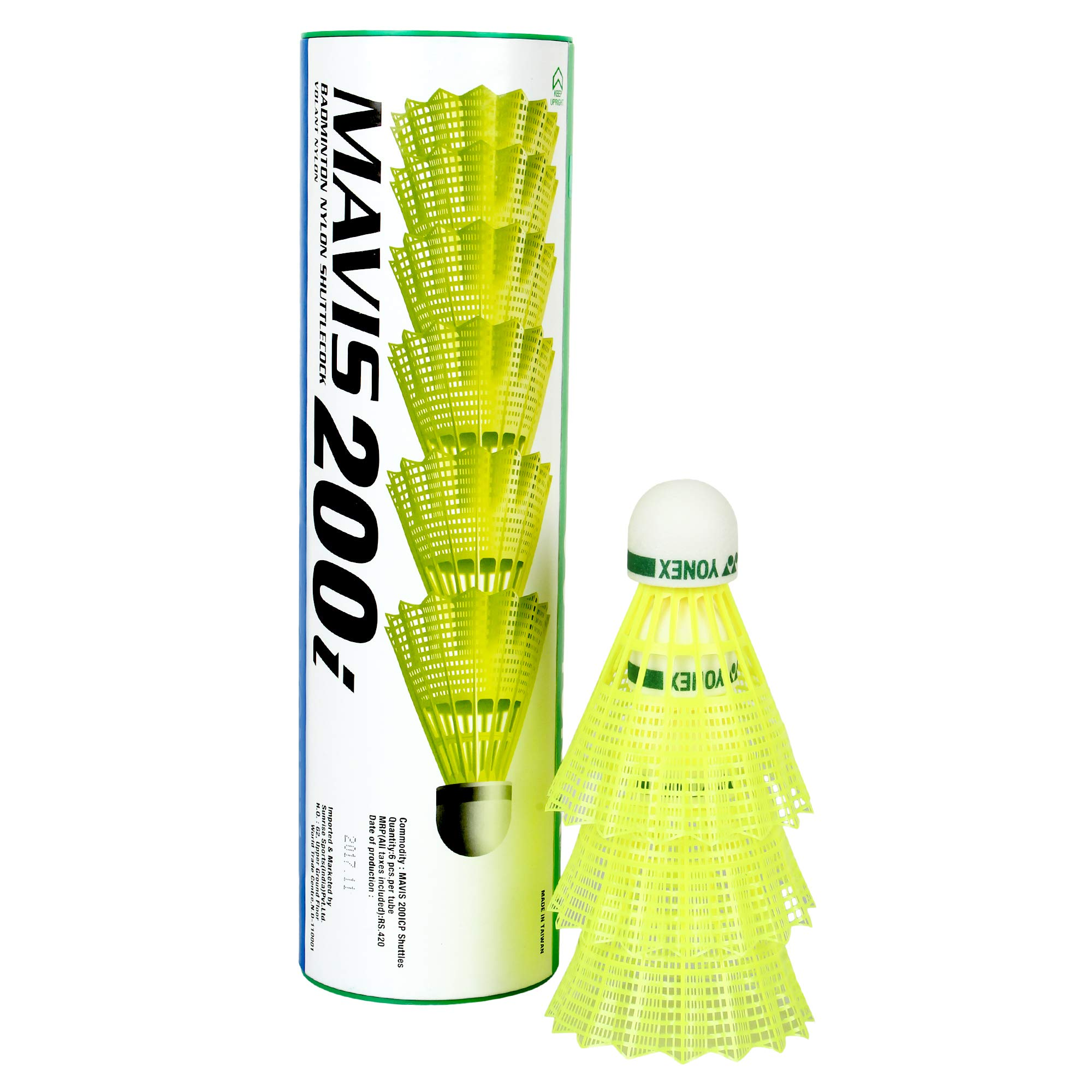 Yonex Mavis 200i Nylon Shuttle Cock, Pack of 6 (Yellow) product image