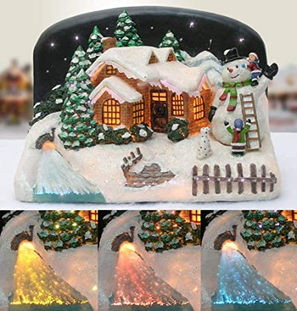 banberry designs christmas snow village fiber optic house cabin collectible with snowman and children - Fiber Optic Snowman Christmas Decorations