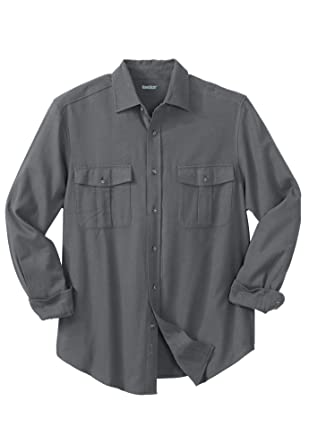 e0a63acd14a Amazon.com  KingSize Men s Big   Tall Solid Double-Brushed Flannel ...