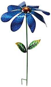 Sunset Vista Designs 92665 Large Daisy Spinner Stake, Metal, Blue