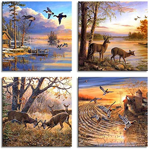 ArtHome520 Yellow Fall Landscape Wild Duck Wall Art Canvas Printed Oil Painting Home Decor orange Animal Deer Picture