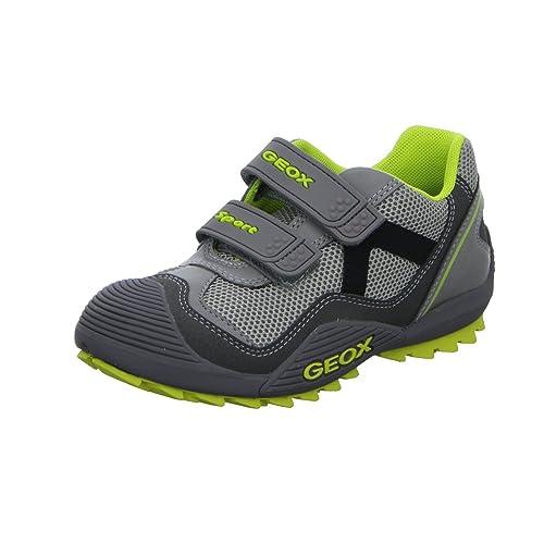 Geox - Mocasines de Material Sintético para niño, Color Gris, Talla 26.0: Amazon.es: Zapatos y complementos