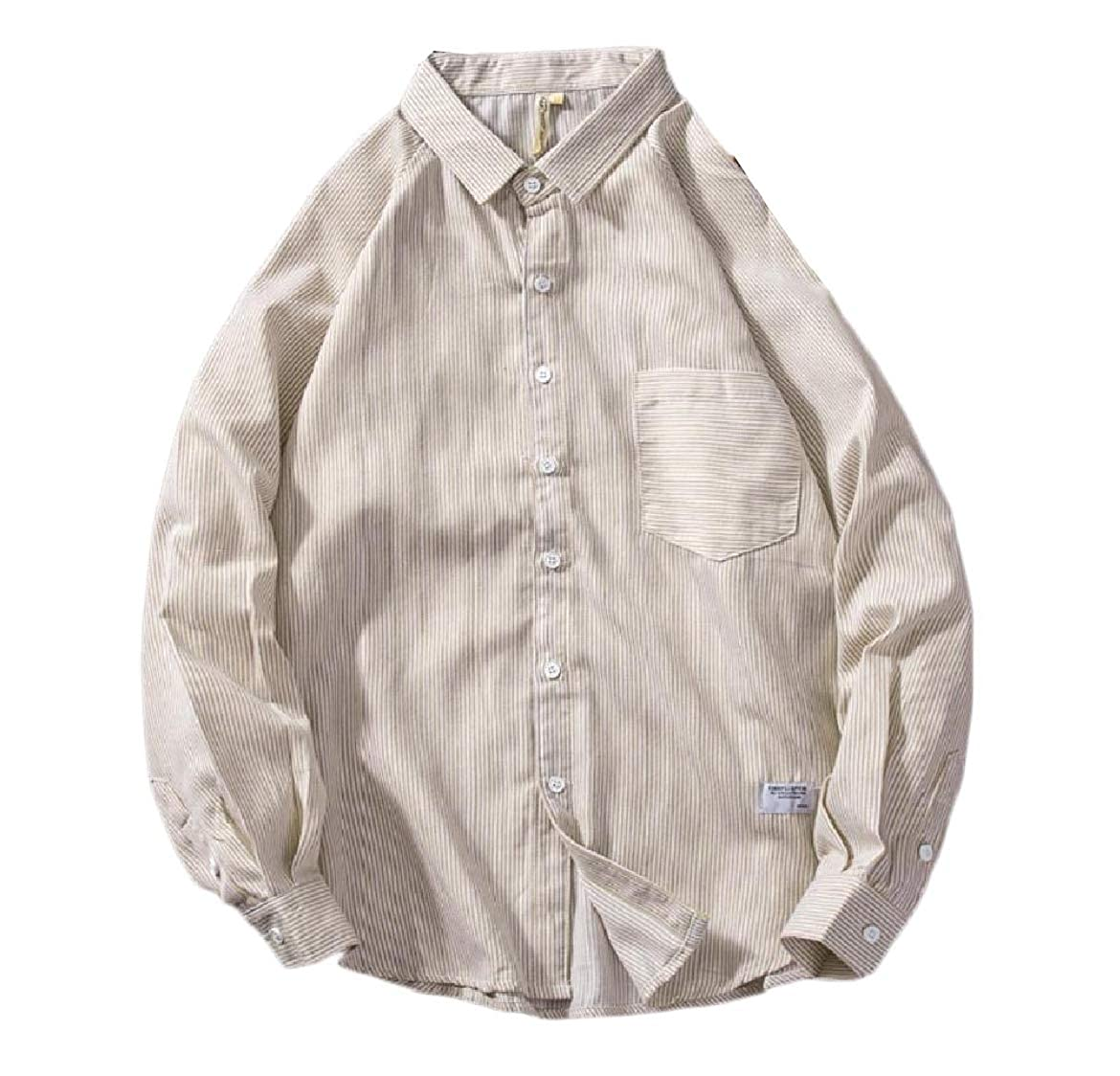 YUNY Men Classic Stripe Long Sleeve Relaxed Fit Autumn Western Shirt Beige L