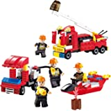 Fire Building Brick Set Newisland 8-in-1 Blocks with Fire Truck Engine Creative Bricks Kids Toys