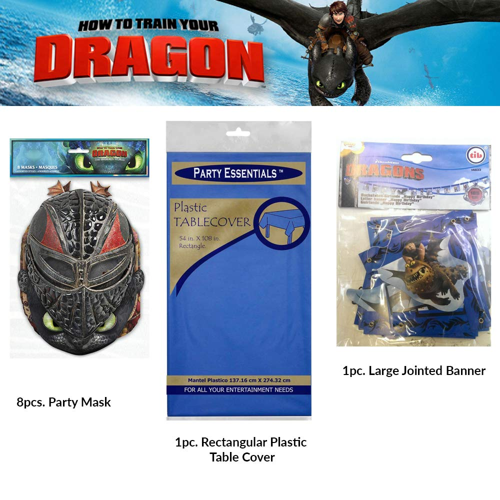 How To Train Your Dragon birthday party supplies Set of masks, balloons, large joint banner, paper plates, paper cups, table plastic cover and table ...