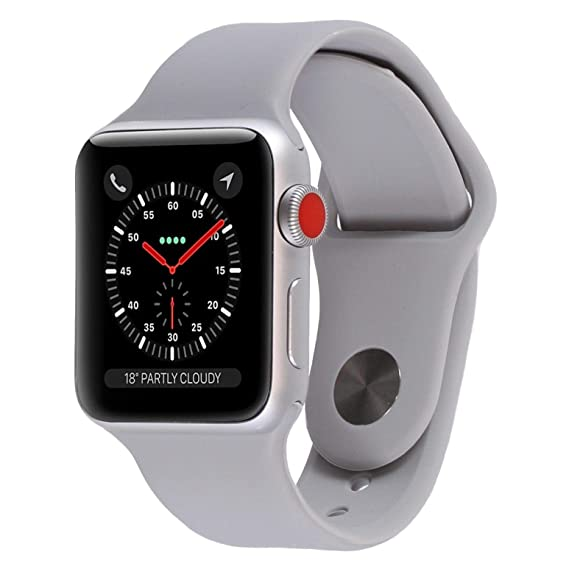 wholesale dealer 9c34f cfe8d Apple Watch Series 3 - GPS+Cellular - Silver Aluminum Case with Fog Sport  Band - 42mm (Renewed)