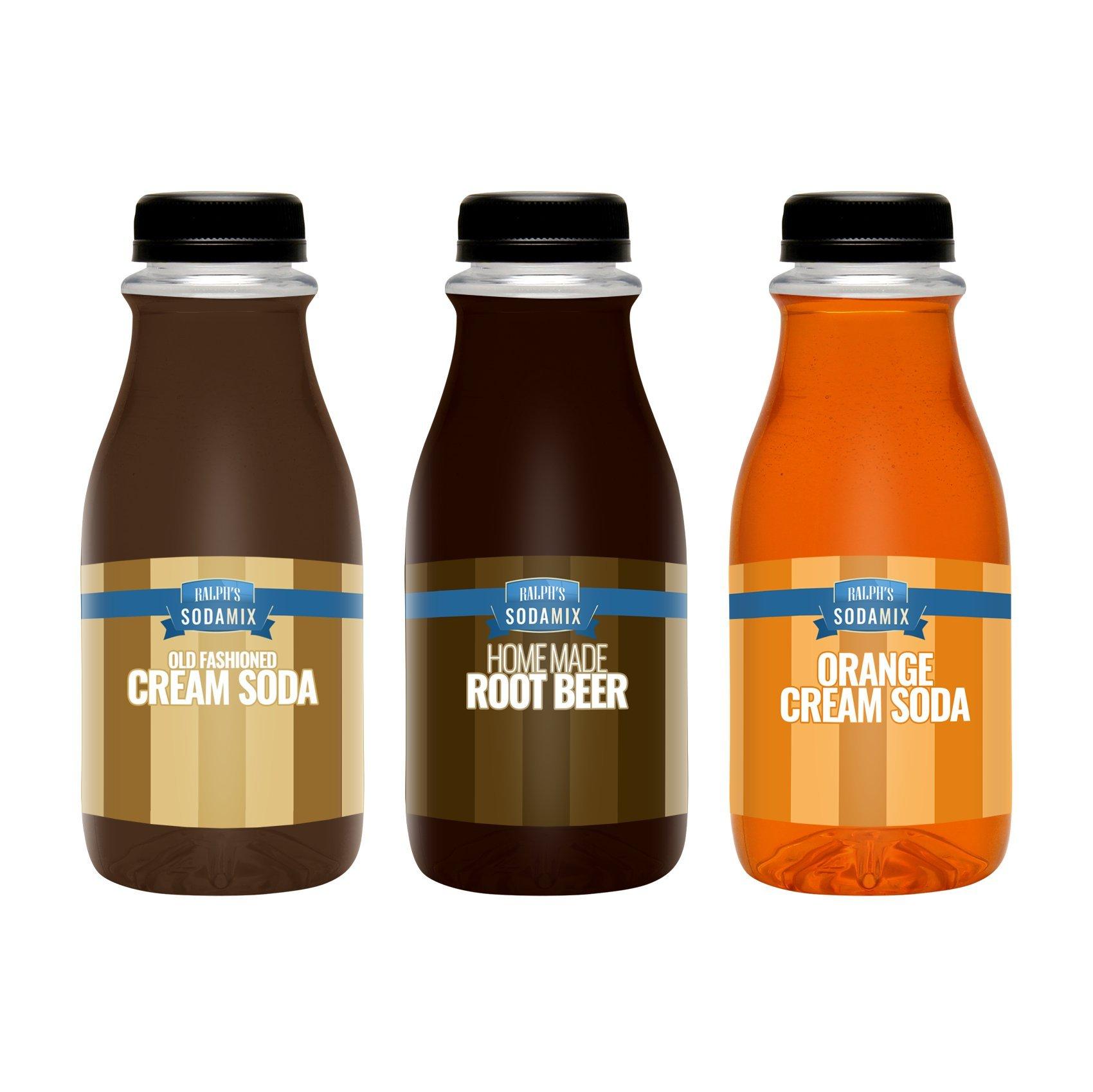 Ralph's 3 Sodastream Syrup Flavor Sodamix Pack | Cream Soda | Root Beer | Orange Cream Soda | Three 12oz Bottles