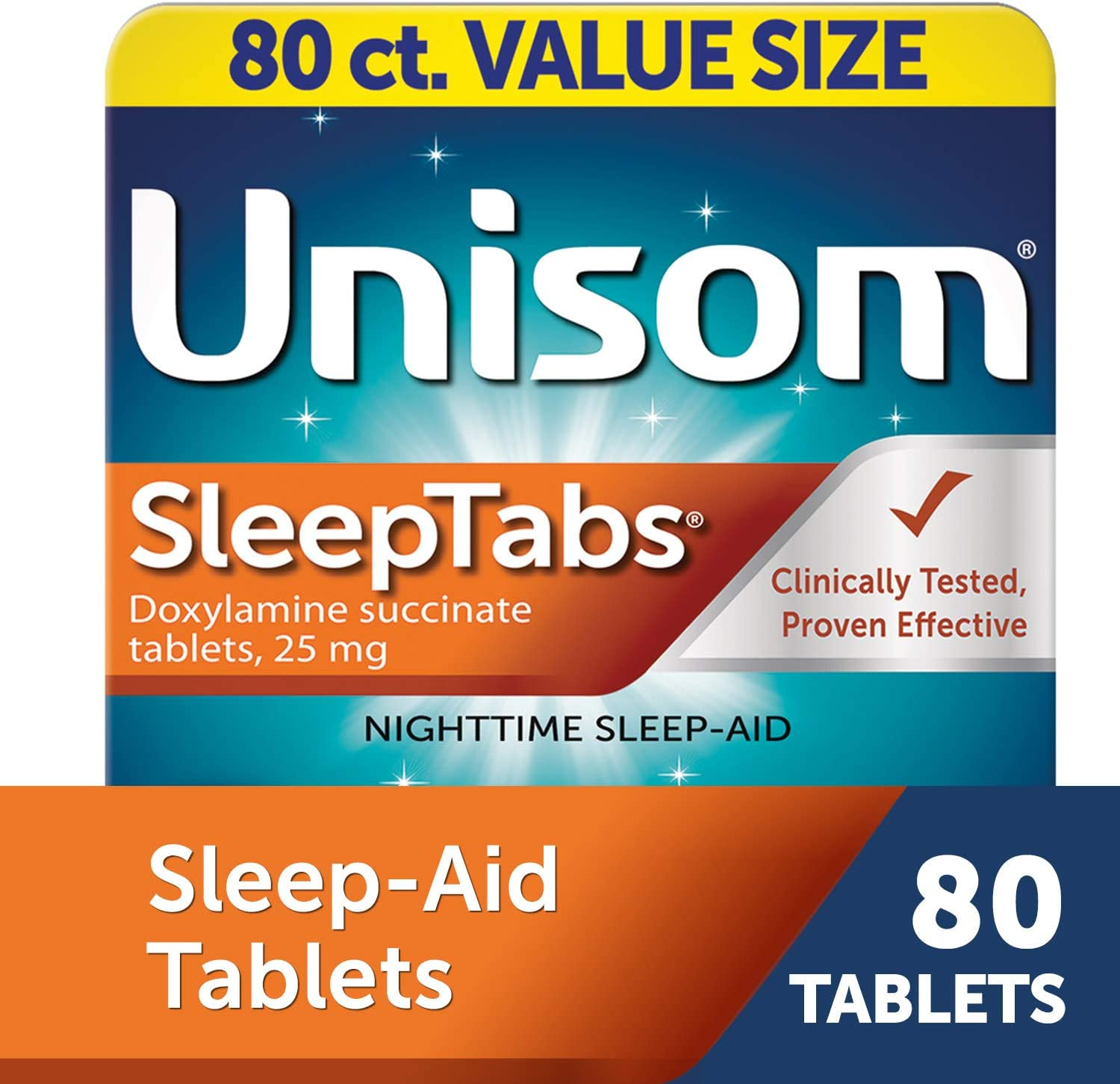Unisom SleepTabs, 80 Count, Non-Habit Forming Sleep Aid, Great for Difficulty Falling Asleep Due to Anxiety or Stress, Fall Asleep Faster and Wake Up Feeling Refreshed