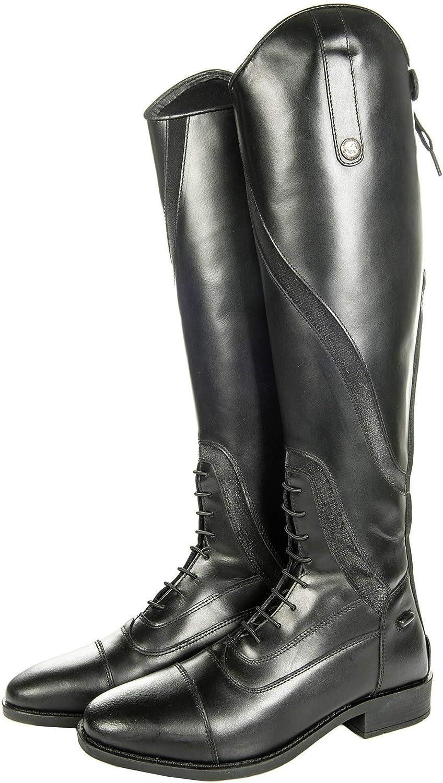 HKM 9110 Gijón - Botas de equitación para adultos, ancho corto/estándar, botas de cuero, pantalón unisex, 9100 negro, Unisex adulto, Pantalones, HKM 4057052127311, Negro , 36