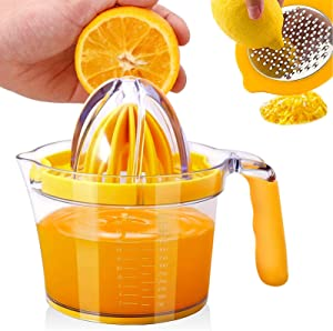 Kuopry Lemon Squeezer Orange Juicer Manual Citrus Lime Juicer Hand Press with Measuring Cup and Egg Yolk Separator and Zester Grater Lid, 20OZ
