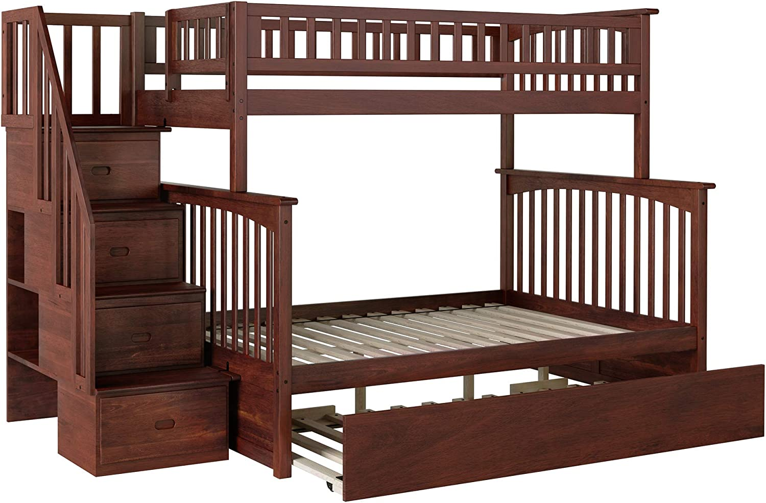 Atlantic Furniture - Cama Nido para Escalera con Cama Nido (tamaño Grande, Color Nogal): Amazon.es: Juguetes y juegos