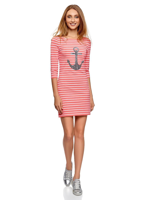 oodji Ultra Damen Jersey-Kleid mit Pailletten-Verzierung