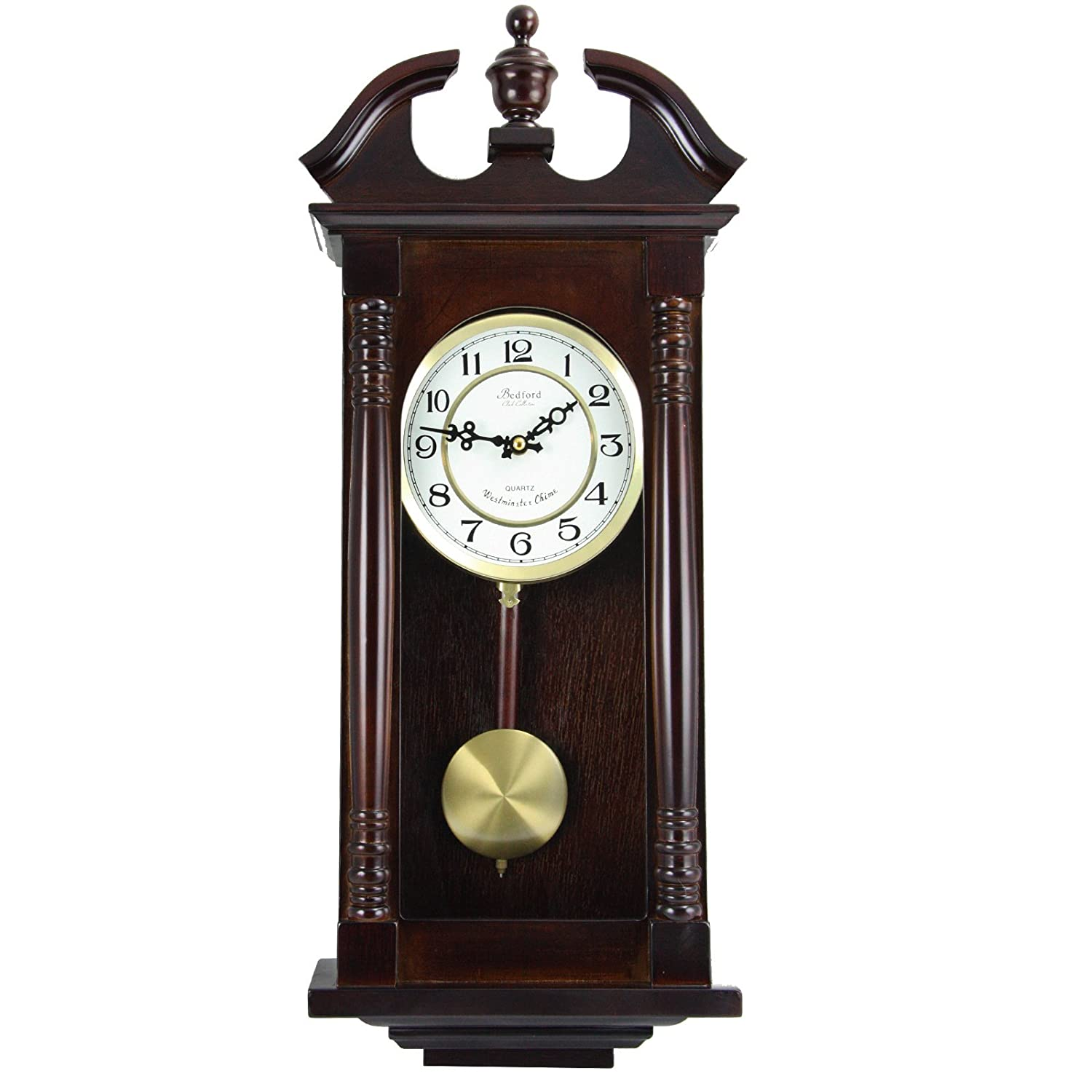 Bedford Clock Collection 27 5 Classic Chiming Wall Clock With Swinging Pendulum In Cherry Oak Finish