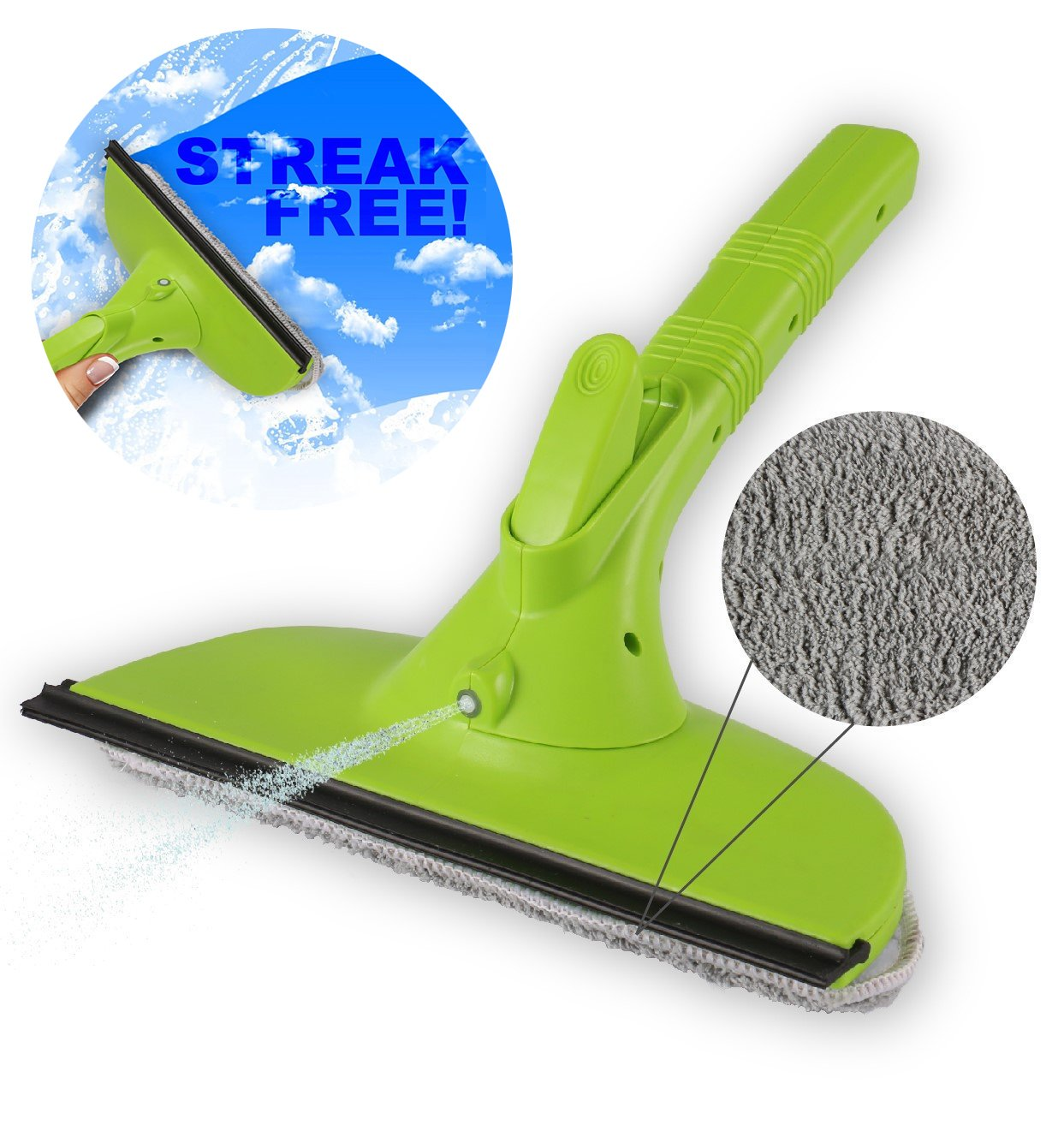 """Weegee 3 in 1 10.5"""" Window Cleaner Squeegee Tool Kit with Spray Bottle, Washable Microfiber Velcro Pad and Silicone Rubber Blade"""