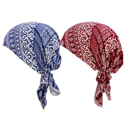 4 Pack Women/'s Scarf Pre Tied Chemo Hat Beanie Turban Headwear for Cancer Pack 4