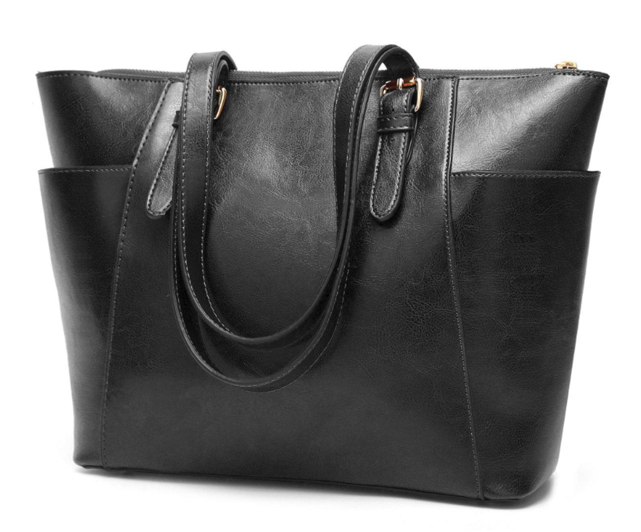 Women's Vintage Fine Fibre Genuine Leather Bag Tote Shoulder Bag Handbag Model Pocket Black