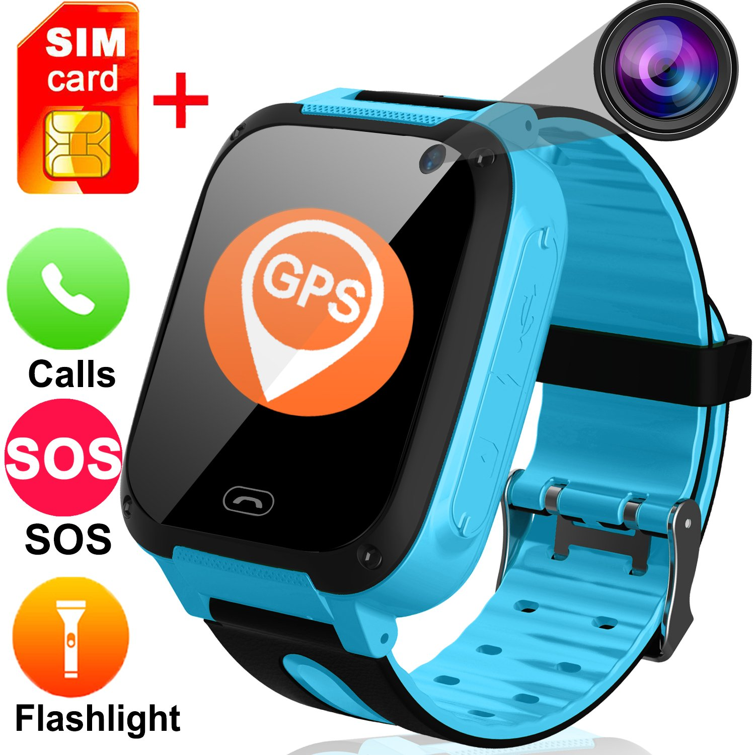 TURNMEON Kids Smart Watches with Free SIM Card- 1.44'' GPS Tracker Wrist Smart Watch Phone for Boys Girls with Camera Pedometer Wearable Smartwatch Bracelet Children Travel School Birthday (Blue)