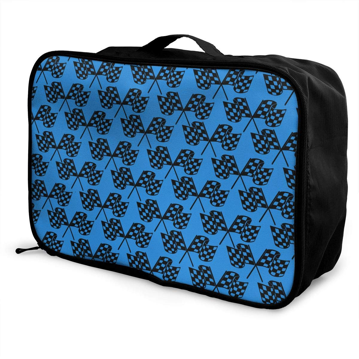 YueLJB Checkered Flags Lightweight Large Capacity Portable Luggage Bag Travel Duffel Bag Storage Carry Luggage Duffle Tote Bag