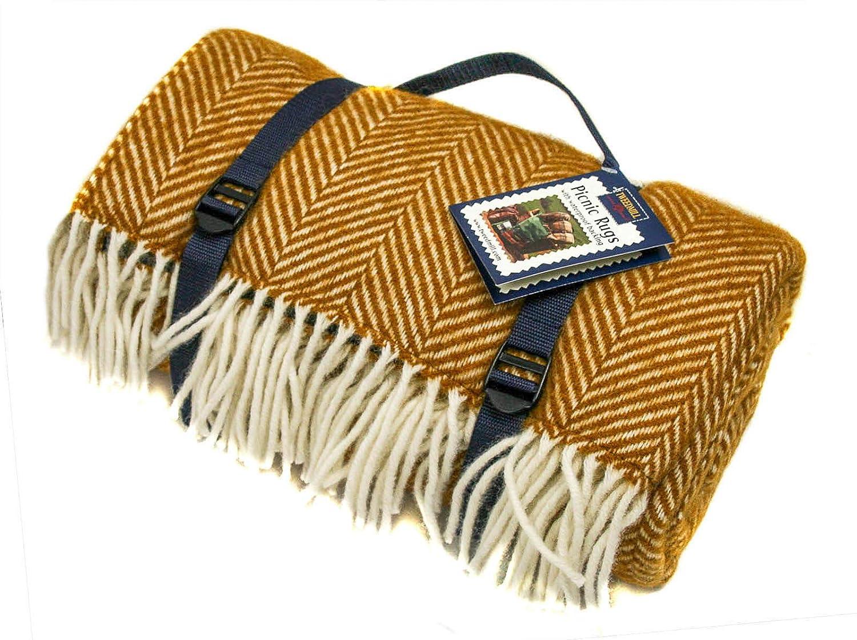 Polo Waterproof Picnic Blanket Rug Herringbone Mustard Navy Wool British Made