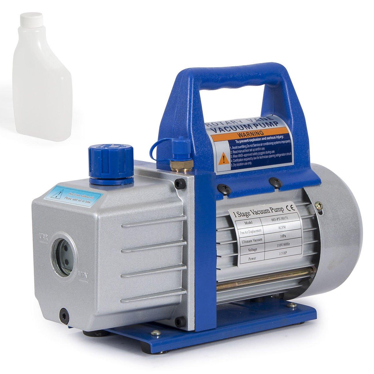 4CFM Rotary Vane Deep Vacuum Pump 1/3HP AC Air Tool R410a R134 HVAC Refrigerant Bonus free ebook By Allgoodsdelight365