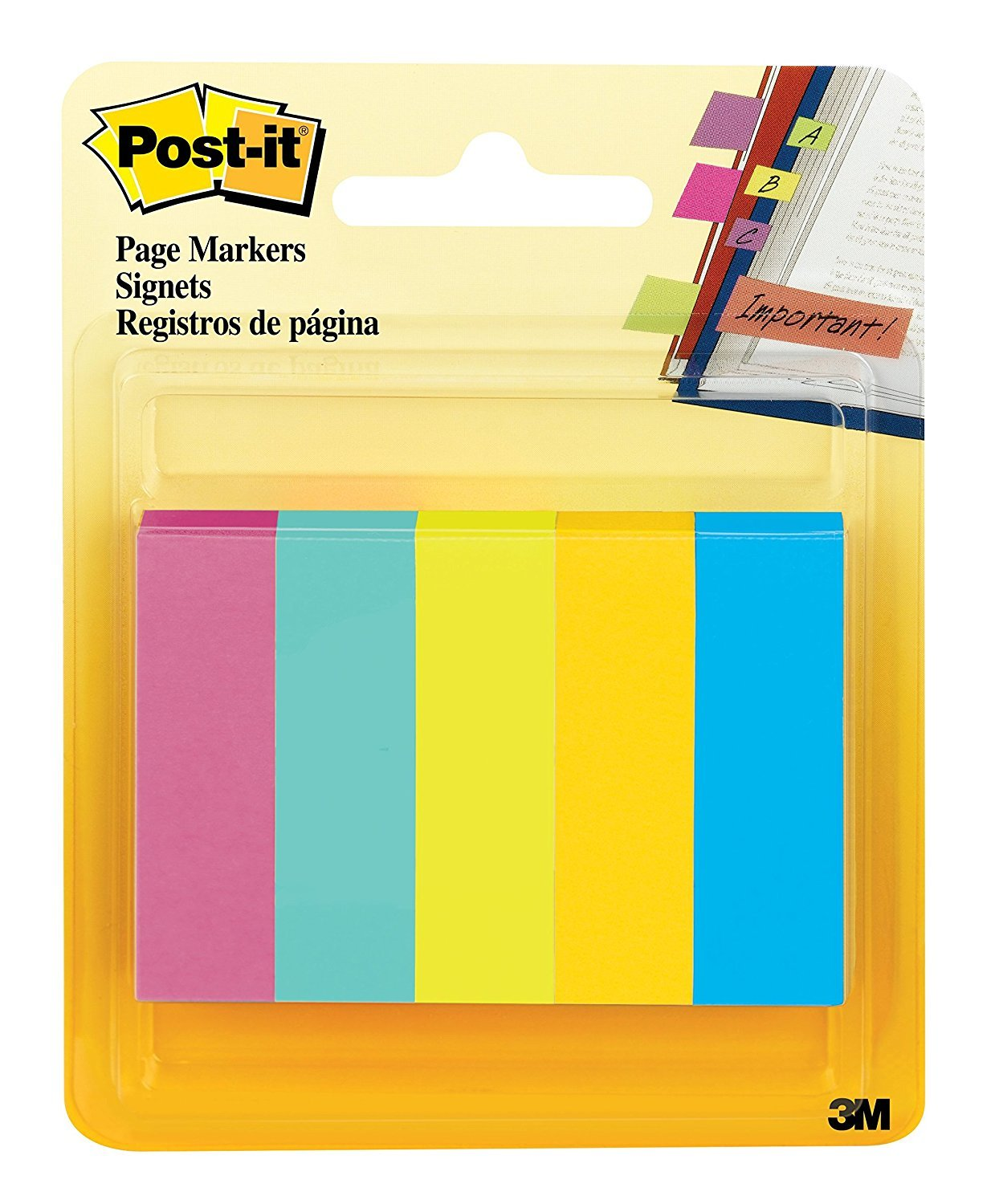 Post-it Page Markers, Assorted Fluorescent Colors , 1/2 in x 1 3/4 in, 50 Sheets/Pad, 4 Packs of 5 Pads/Pack (670-5AF-4)