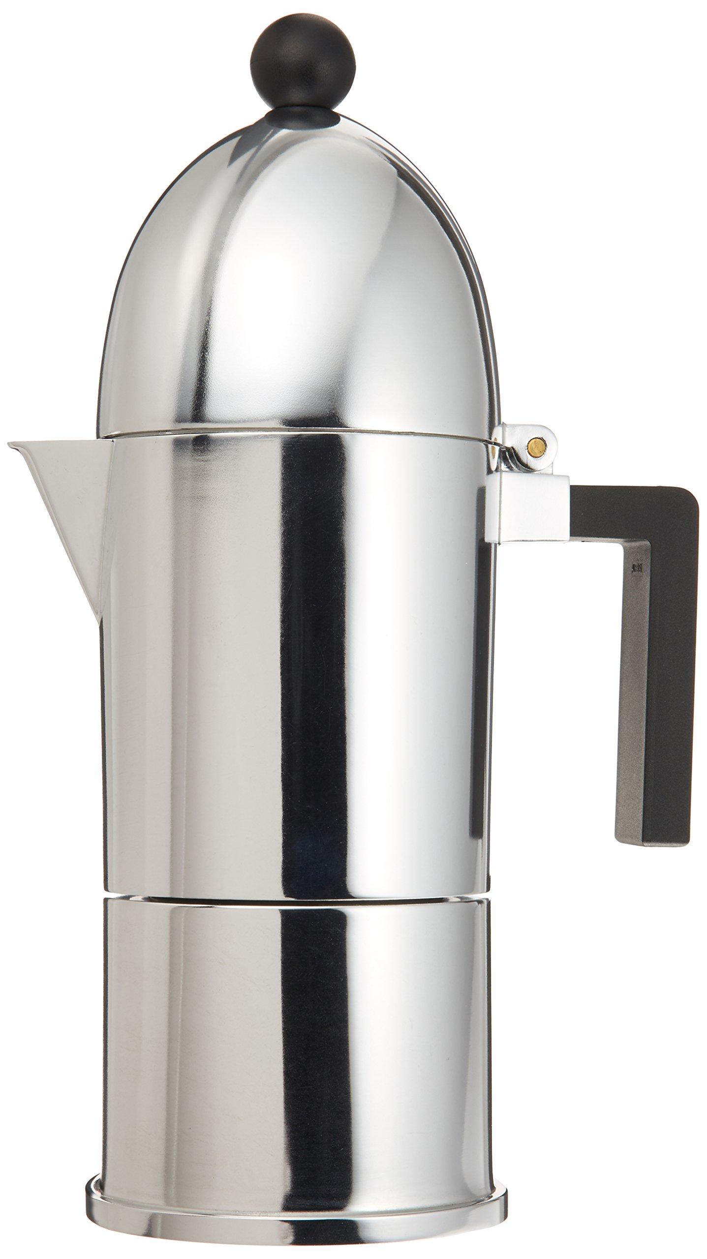 Alessi A9095/6 B La Cupola 6-Cup Silver Aluminum Espresso Maker With Black Handle by Alessi
