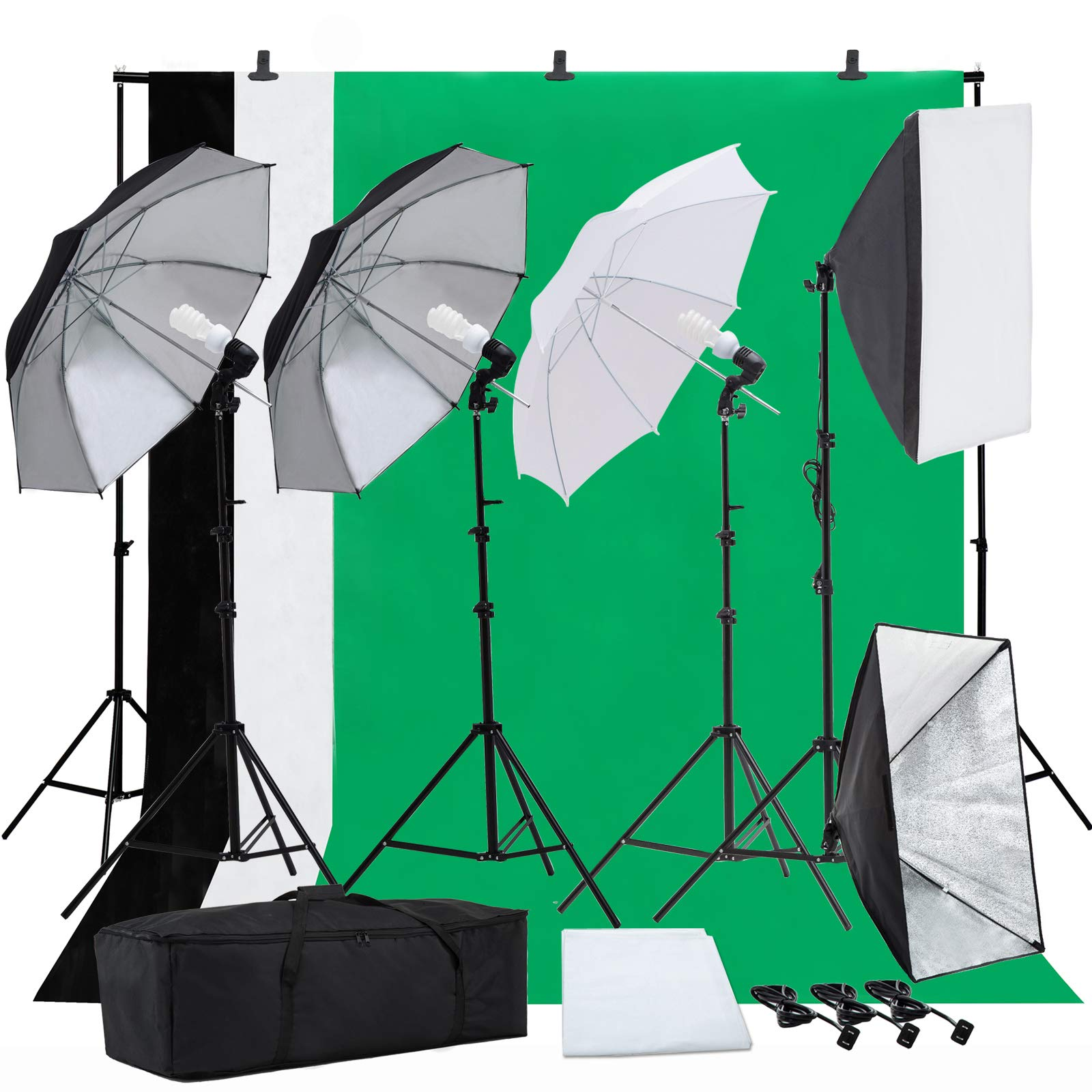 SUNCOO Photo Studio Photography Lighting Kit, Background Support Stand Kit 6.6ft x 10ft, Green Screen with Stand,Umbrellas Softbox Muslin Continuous Light Kit Case Portfolio Video Shooting, 4 Bulbs by SUNCOO