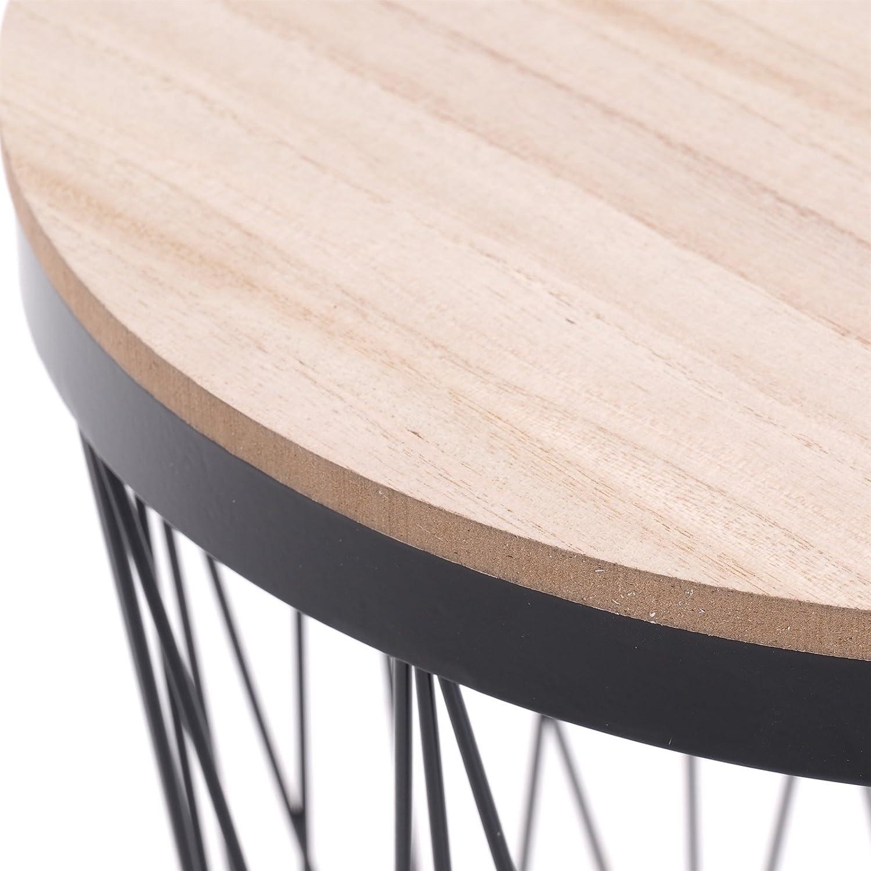 DESIGN DELIGHTS TS-Ideen 43x37x37 ripiano Removibile Colore: Nero Tavolino Cesto in Metallo con impiallacciatura di Rovere