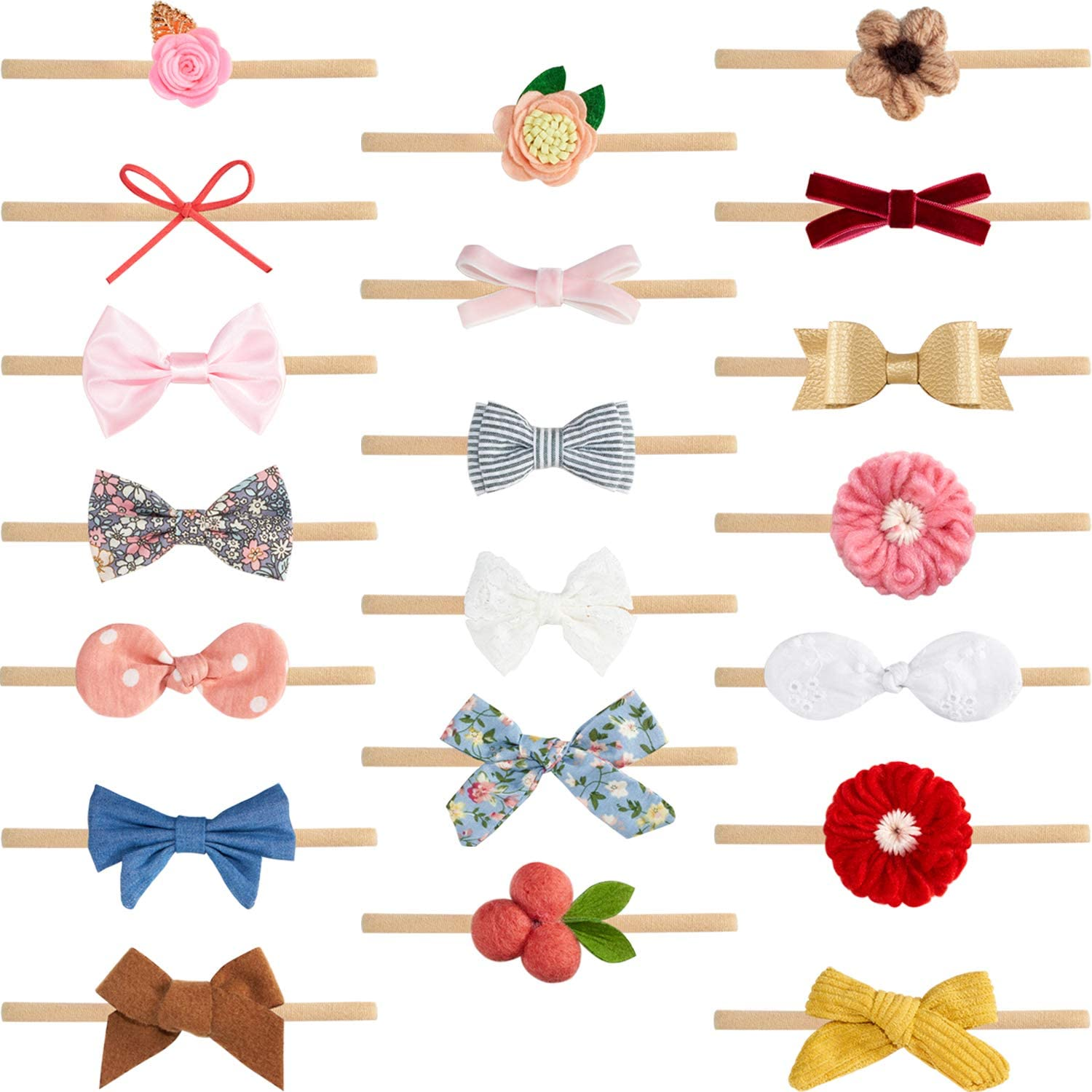 20 Pieces Baby Girl Headbands Nylon Hairbands Hair Accessories for Newborn Infant Toddlers Kids