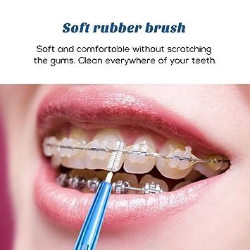 ROSENICE Cepillo interdental Limpieza oral Hilo dental Cuidado oral 1.5mm 60pcs (azul): Amazon.es: Salud y cuidado personal