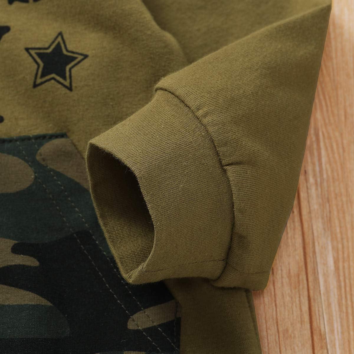 B/éb/é Gar/çons Camouflage Hoodies Ensemble Dr/ôle Lettre Manches Longues Tops Sweatsuits Pantalons Automne Tenue Set 0-3 ans