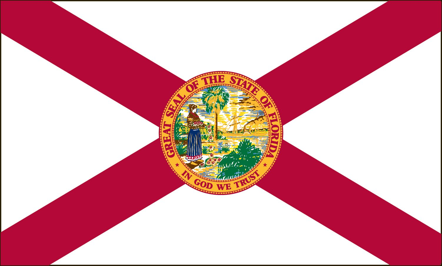Valley Forge Flag 5-Foot by 8-Foot Nylon Florida State Flag with Canvas Header and Grommets by Valley Forge