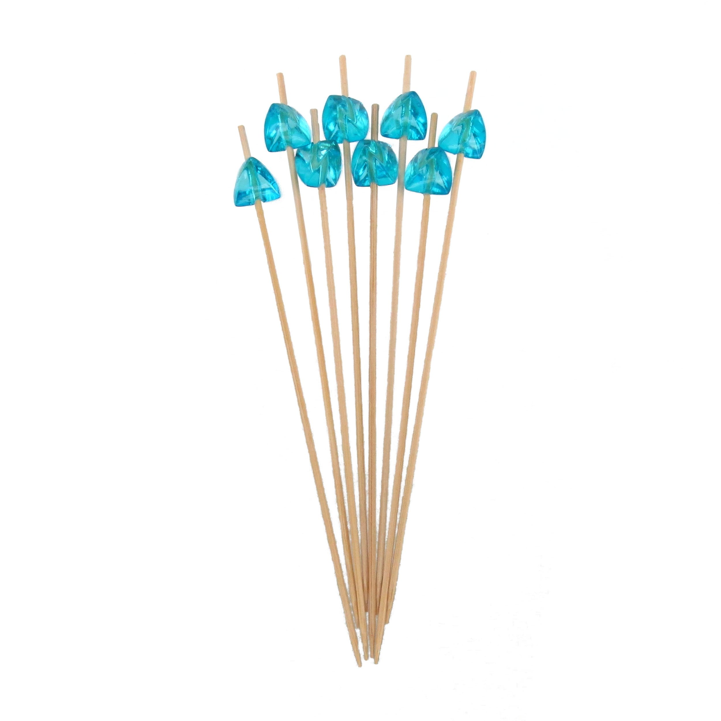 BambooMN 5.9'' Decorative Acrylic Light Blue Gem End Bamboo Cocktail Fruit Sandwich Picks Skewers for Catered Events, Holiday's, Restaurants or Buffets Party Supplies, 100 Pcs