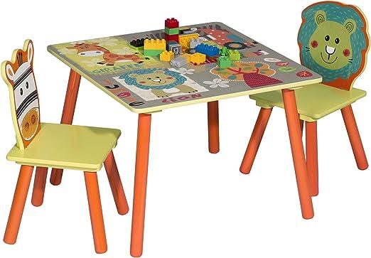 WOLTU 3 uds. Grupo de Asientos para Niños Mesa y 2 Sillas Muebles Animales del Bosque Juegos de Mesa y sillas en Edad Preescolar Muebles para Niños SG006: Amazon.es: Hogar