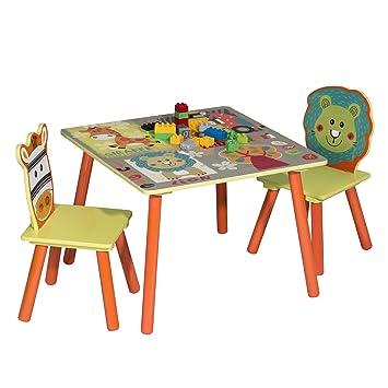 WOLTU 3 uds. Grupo de Asientos para Niños Mesa y 2 Sillas Muebles Animales del Bosque Juegos de Mesa y sillas en Edad Preescolar Muebles para Niños ...