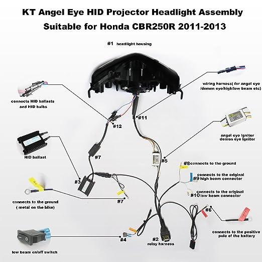 honda wiring diagram cbr250r: amazon com: kt headlight assembly for honda  cbr250r 2011