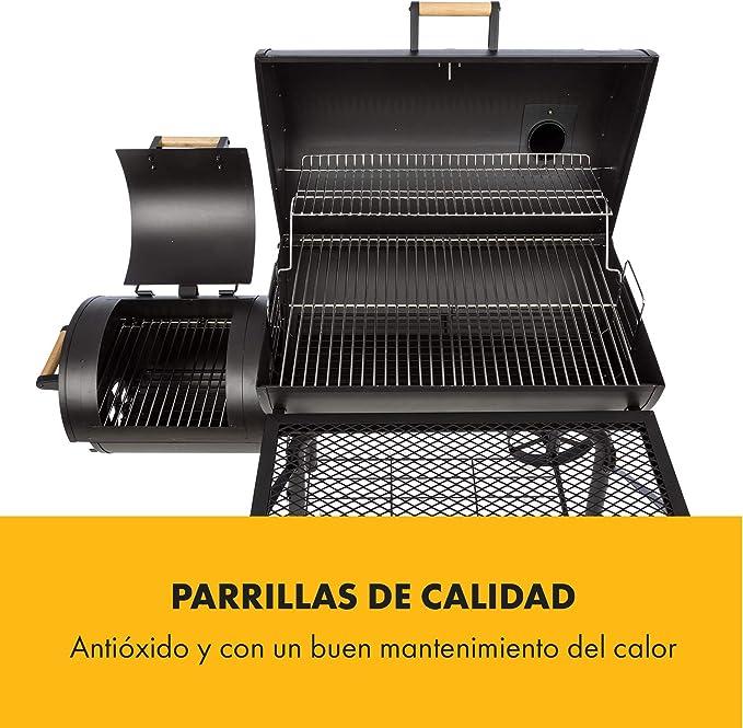 KLARSTEIN Beef Brisket Barbacoa ahumadora - Parrilla para carbón, Parrilla de Acero Inoxidable, Termómetro en la tapadera, 2 Ruedas Grandes, Negro: Amazon.es: Jardín