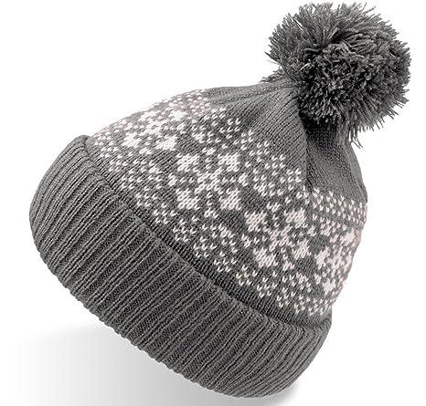 FLAKE GRIGIO cuffia lunga con risvolto long beanie pom-pon cappello  berretto bearnie c51656bc0e5f